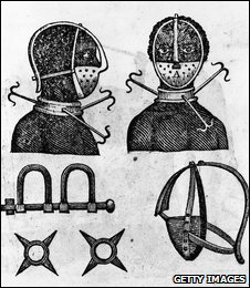 Circa 1750, An iron mask and collar used by slaveholders to keep field workers from running away.