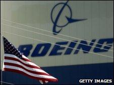 An American flag blows outside a Boeing plant in Wichita, Kansas (file photo)