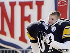 A young Pittsburgh fan gets ready for the Super Bowl