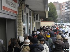 Queue at a job centre in Spain