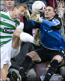 Anthony Basso makes a save for Hearts against Celtic