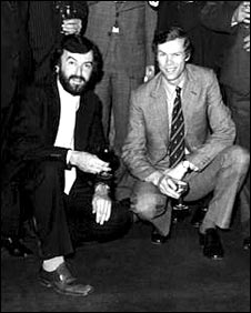 Bill Frindall and Christopher Mrtin-Jenkins at a BBC TMS lunch in 1978