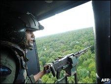 A Sri Lankan helicopter gunner over Mullaittivu, 27 January