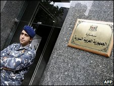 A Lebanese policeman outside the building housing the new Syrian embassy in Beirut