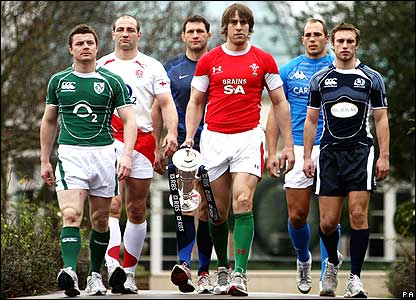 Six Nations captains (from left) Brian O'Driscoll (Ireland), Steve Borthwick (England), Lionel Nallet (France), Ryan Jones (Wales), Sergio Parisse (Italy), Mike Blair (Scotland)