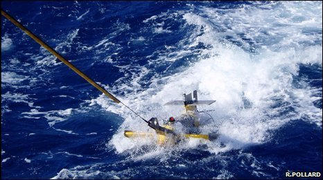 SeaSoar being towed behind a ship, profiling the ocean to measure properties down to 300 m.