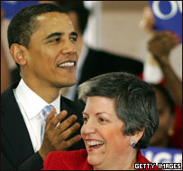 Barack Obama y Janet Napolitano