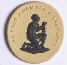 A slave in chains expressing the inhumanity of slavery with the words 'Am I not a man and a brother?'.