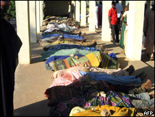 Dozens of dead bodies killed during the civil unrest lay on the floor of Jos Central Mosque
