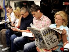 Commuters on tube train