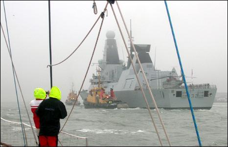 HMS Daring entering Portsmouth harbour