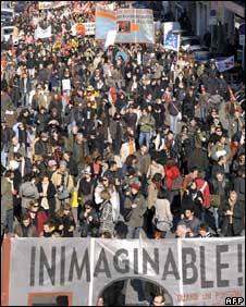 Workers on strike in Marseille