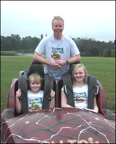 John Taylor with the carriage and daughters Rose and Rebecca
