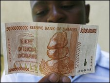 50 billion dollar Zimbabwean bank note