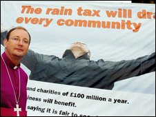 "The Bishop of Middleton lauching the ""rain tax"" campaign"