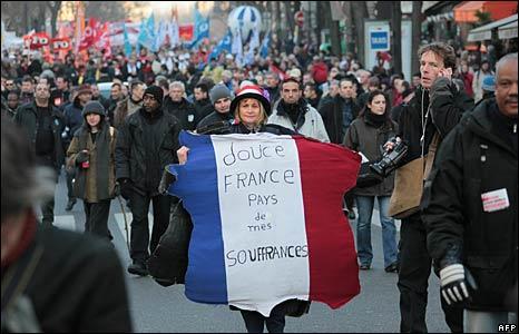 Manifestación en París, 29 de enero, 2009