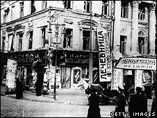 Shop windows in Moscow, smashed during the Russian Revolution