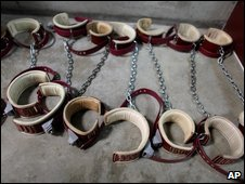Leg shackles at Guantanamo Bay, 21 January 2009