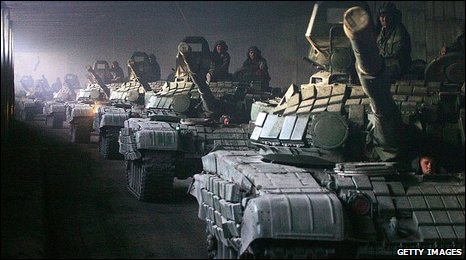 Russian tanks deployed during the South Ossetia conflict - file picture