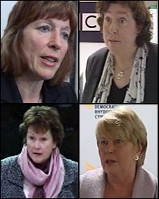 Top (L-R) Jane Davidson, Helen Mary Jones. Bottom (L-R) Angela Burns, Jenny Randerson