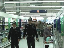 Officers in a supermarket