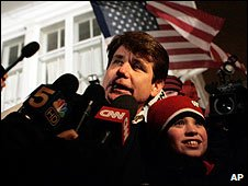 Former Illinois Governor Rod Blagojevich at his home in Chicago (29/01/2009)