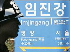 South Korean soldier by a railway station sign near the demilitarised zone of Panmunjom