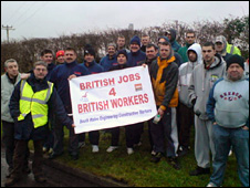 Protestors outside Aberthaw in January