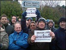 Protestors outside Aberthaw