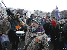 Anti-government protest in Reykjavik, 24 Jan 09