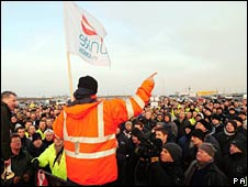 Walkout at Lindsey refinery, North Lincs, Friday 