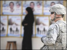 US soldier at a polling station in Iraq