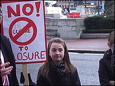 Dozens of people protested against the closure