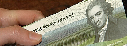 Lewes Pound in hand