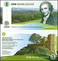 The front and back of the Lewes Pound