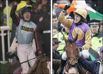 (L) McCoy on Mr Mulligan; (R) McCoy celebrates on Brave Inca