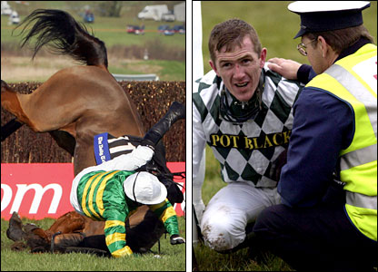 McCoy takes a heavy fall on Risk Assessor but both escape serious injury