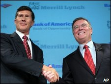 Merrill Lynch's John Thain, left, and Bank of America chairman Ken Lewis