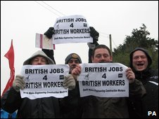 Sub-contractors hold a demonstration outside the Aberthaw power station in south Wales