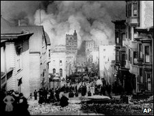 People watch smoke billowing over a collapsed SF, 1906