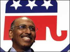 Michael Steele smiles after being elected the first black Republican National Committee chairman