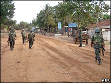 Sri Lankan soldiers in Vishwamadu in Mullaittivu district