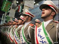 Iranian soldiers sing during a ceremony in Tehran. Photo: 31 January 2009