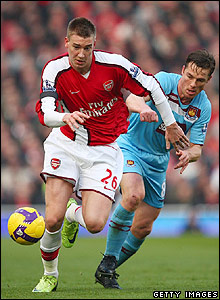 Bendtner and Parker contest possession