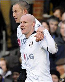 Andy Johnson celebrates scoring Fulham's opening goal