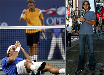 Lleyton Hewitt and Roger Federer