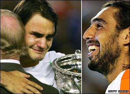 Rod Laver, Roger Federer and Marcos Baghdatis