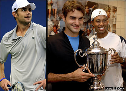 Andy Roddick, Roger Federer and Tiger Woods