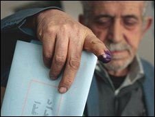 Iraqi man votes in Baghdad on Saturday