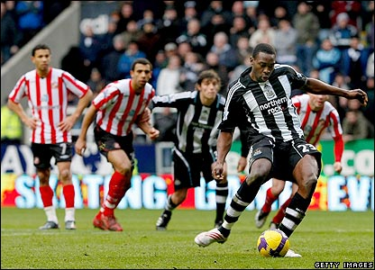 Shola Ameobi thumps home from the spot